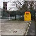 SO1107 : Yellow bin outside Rhymney Fire Station  by Jaggery