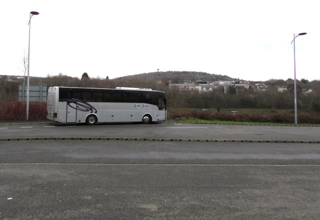 Sixty-Sixty coach parked at the edge of Bargoed bus station