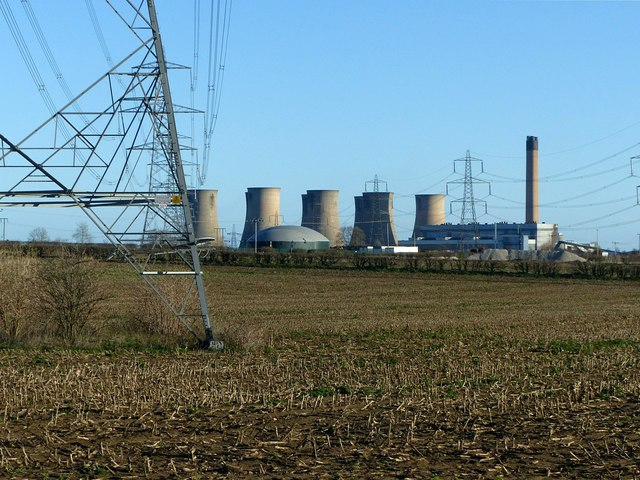 View from Southfield Lane towards Eggborough Power Station