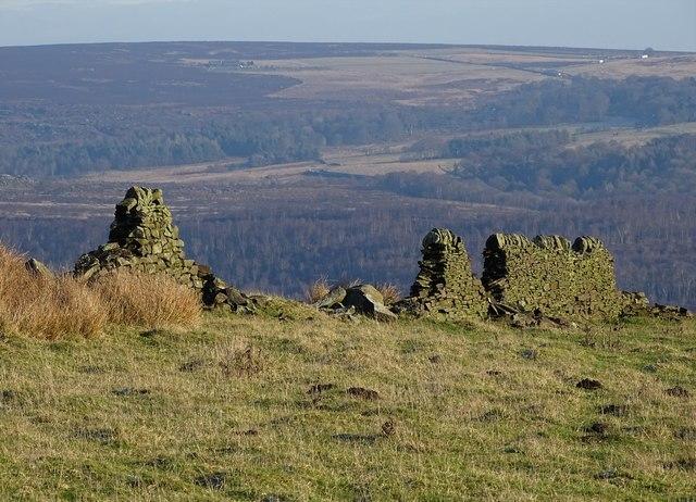 Broken wall on the edge of Eyam Moor