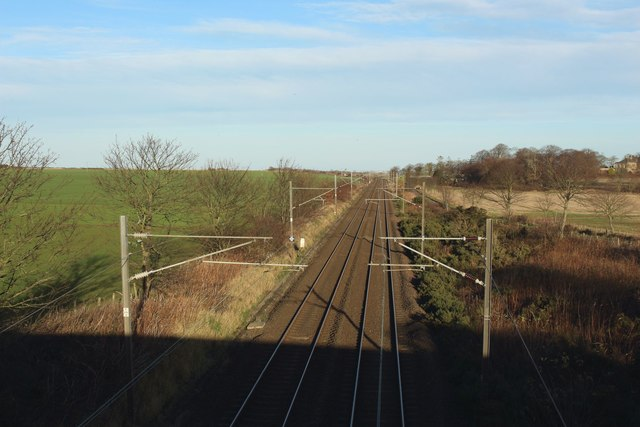 The East Coast Mainline passing Buston Barns