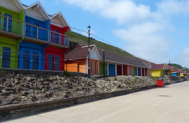 Beach huts along the North Bay Promenade, Scarborough