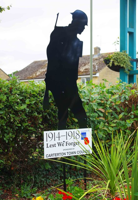 Close view of Silent Soldier, Wycombe Way, Carterton, Oxon