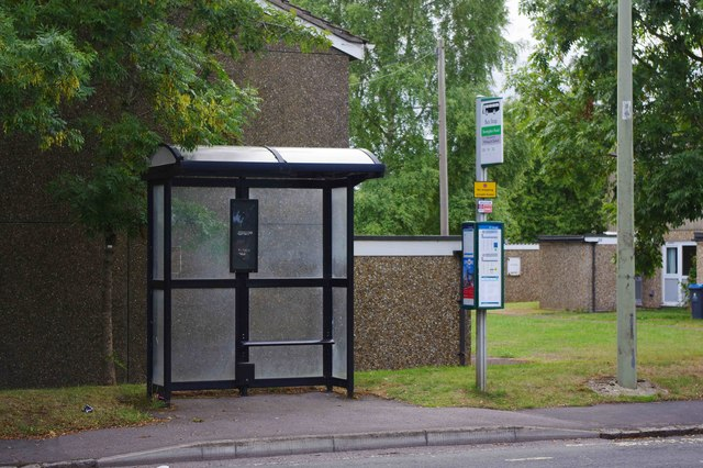 Bus stop and shelter, Upavon Way, Carterton, Oxon