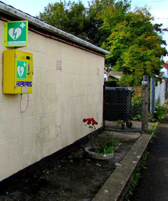 Yellow defibrillator box on the wall of Pewsey Scout Hall