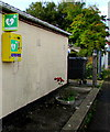SU1660 : Yellow defibrillator box on the wall of Pewsey Scout Hall by Jaggery