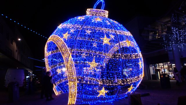Giant walk-in LED bauble in Commercial Road