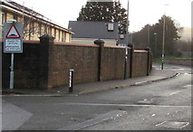 ST1586 : Warning sign - humps for 200 yards, Station Terrace Car Park, Caerphilly by Jaggery