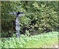 SX0048 : Sustrans signpost, King's Wood near Pentewan by David Smith