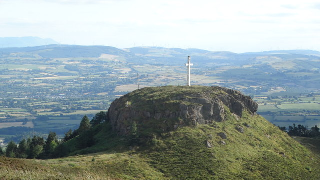 At trig point on Devil's Bit Mountain - view towards Little Rock & cross