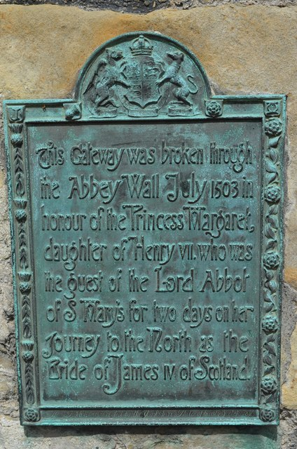 Commemorative Plaque for Princess Margaret (Tudor) on St Marys Abbey Wall