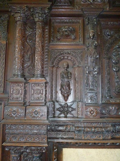Carved panels in the Blayney room at Gregynog