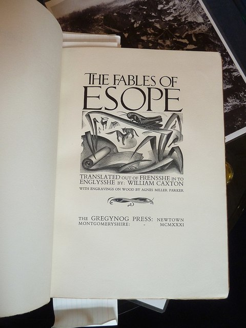 Title page from a Gregynog Press edition of Aesop's Fables