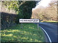 TM4897 : Herringfleet Village Name sign by Adrian Cable