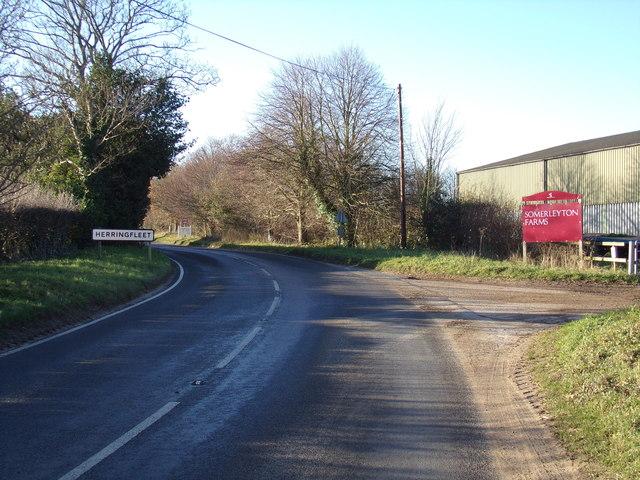 Entering Herringfleet on the B1074 St Olaves Road