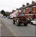 ST3490 : Red tractor in Mill Street, Caerleon by Jaggery