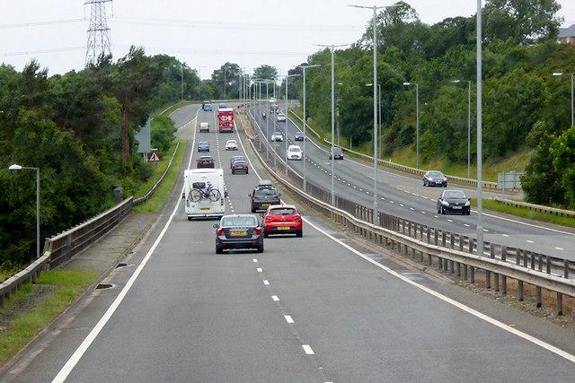 Westbound A55 near Bangor