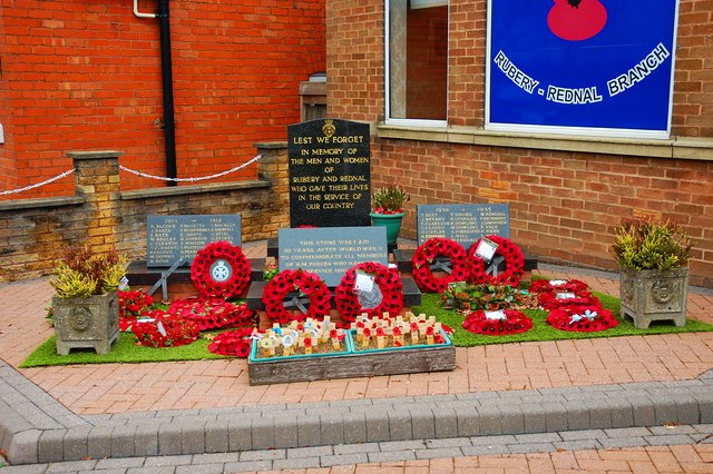 War Memorial outside Rubery Memorial Club, 64 New Road, Rubery, near Birmingham