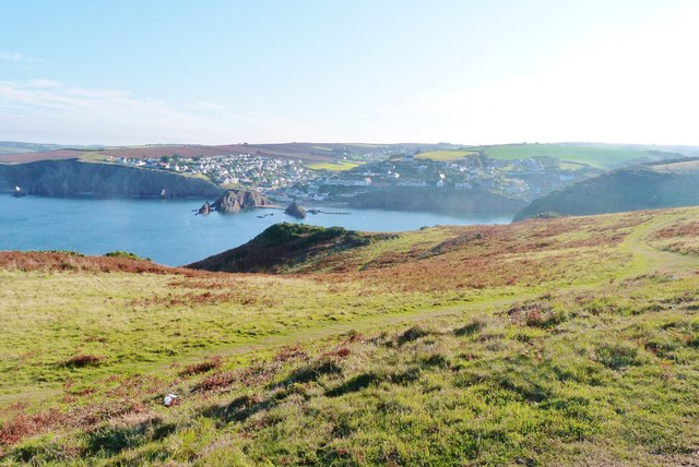 Looking across Hope Cove to the twin villages of Outer and Inner Hope, Devon
