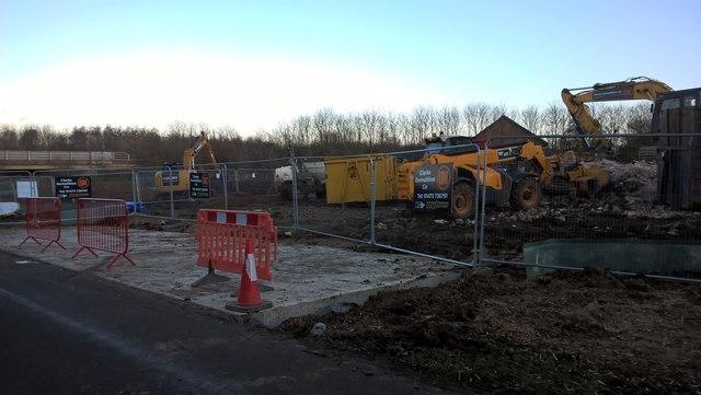 Railway underpass construction work gets under way near Werrington Junction