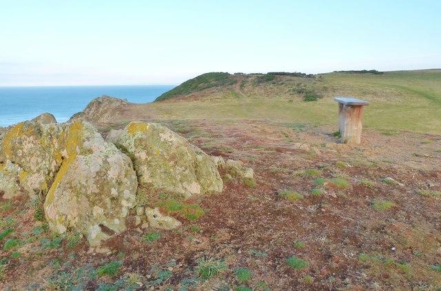 Seat by the SW coast path on Bolt Tail, Devon