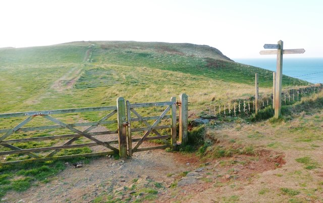 Junction of paths on Bolt Tail, Devon
