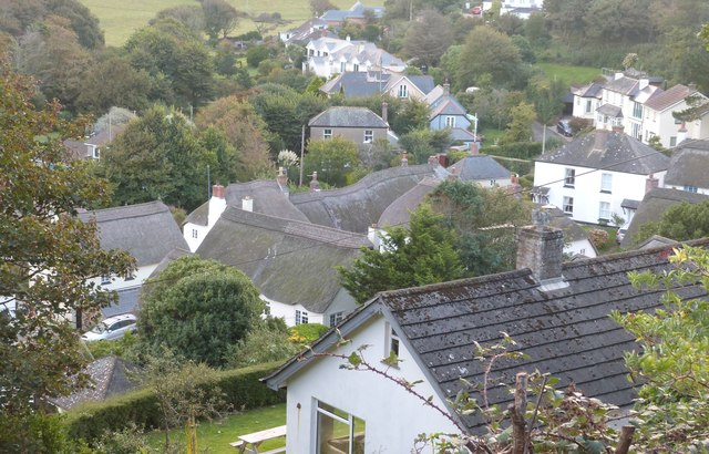 Looking down on to the rooftops of Inner Hope village from the SW coast path