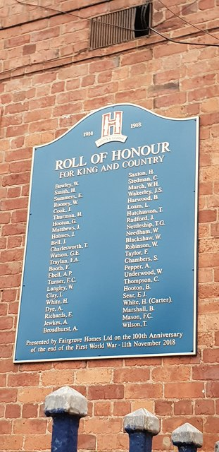 Roll of Honour at former Hardy & Hanson brewery