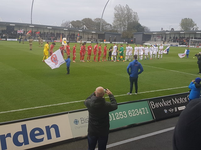 Handshakes at the AFC Fylde v Leyton Orient match