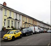 ST1494 : Yellow car outside a yellow house, Glenview, Ystrad Mynach by Jaggery