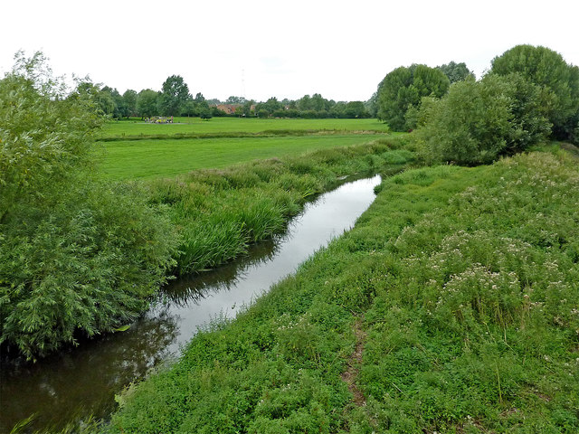 River Penk and meadows south of Baswich in Stafford