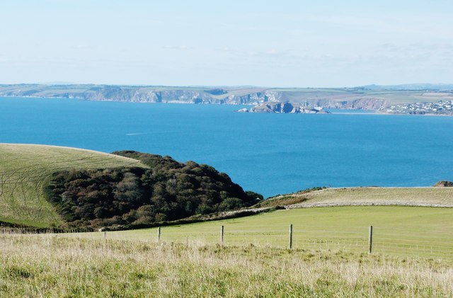 Long lens shot of Burgh Island from the SW Coast Path around Bolt Tail, Devon