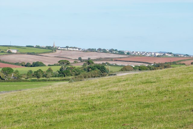Long lens shot of Malborough from the SW coast path on Bolberry Down, Devon