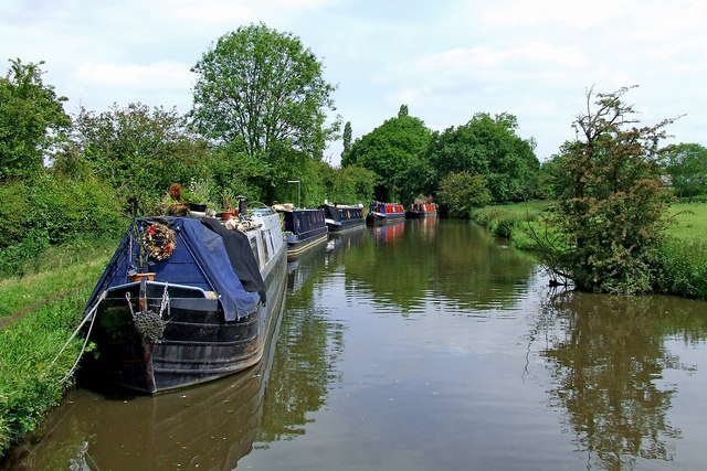 Moored narrowboats north of Penkridge in Staffordshire