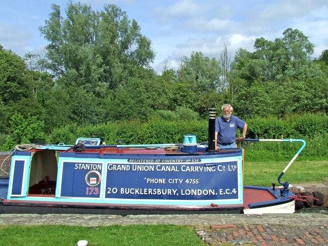 "Working boat ""Stanton"" in Otherton Lock, Staffordshire"