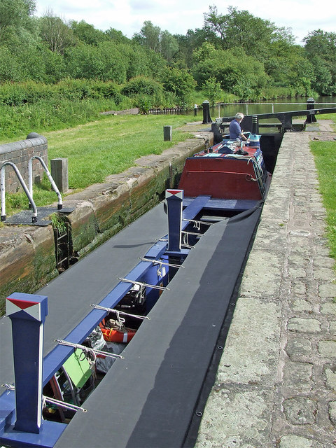 Working boat in Otherton Lock, Staffordshire
