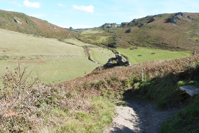 The SW coast path at its descent to the beach at Soar Mill Cove, South Devon