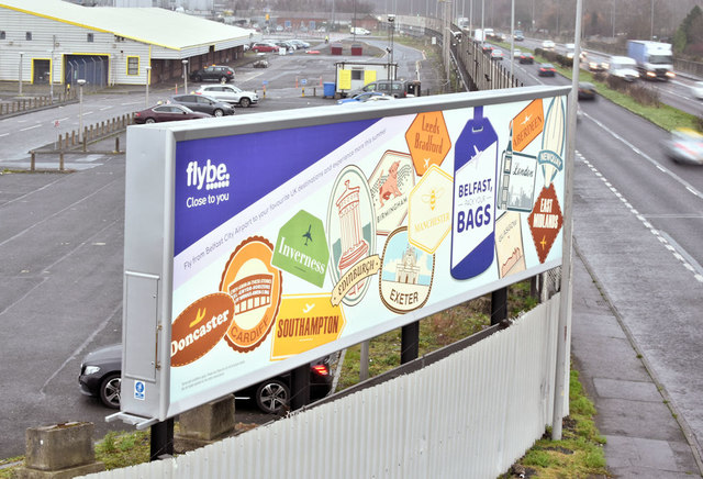 Flybe advertising, Sydenham bypass, Belfast (January 2019)