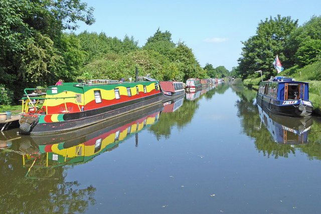 Moored narrowboats north-west of Brewood, Staffordshire