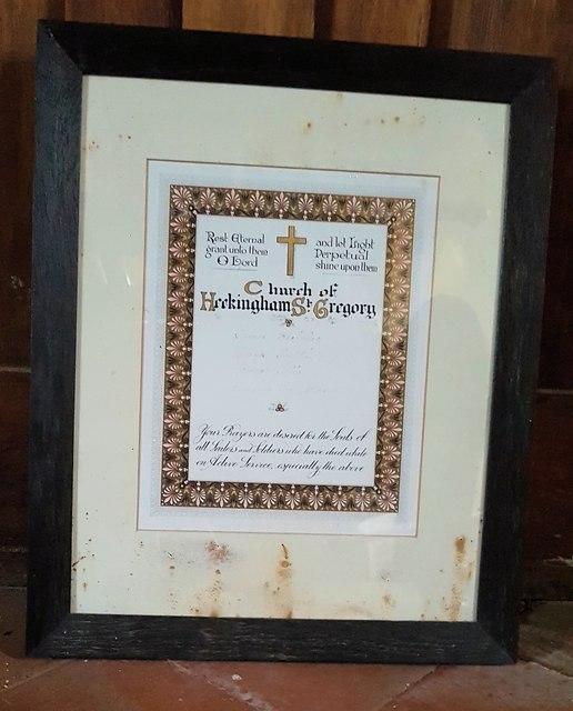 Roll of Honour inside St Gregory's church, Heckingham