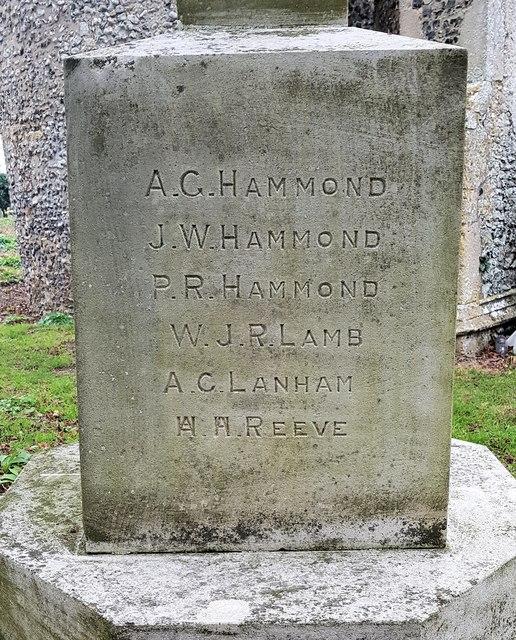 Inscription on the Norton Subcourse war memorial  - 3