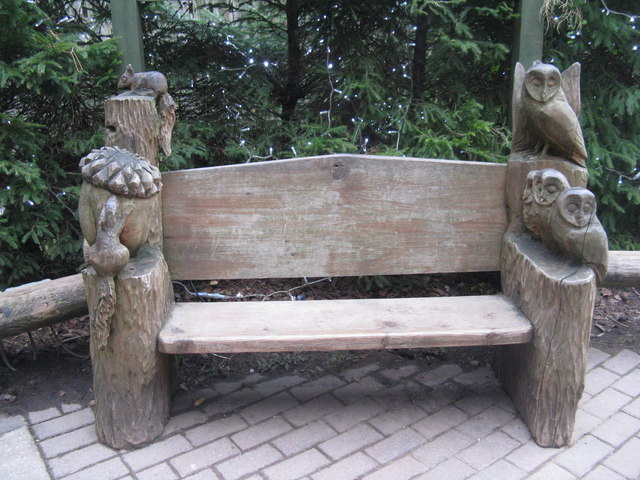 Carved bench at Center Parcs