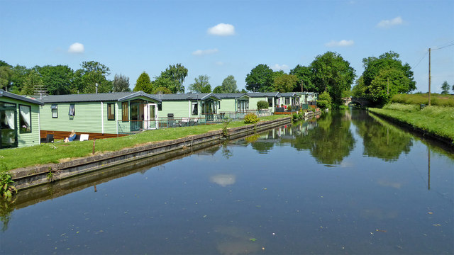 Canalside mobile homes park at Shutt Hill, Staffordshire