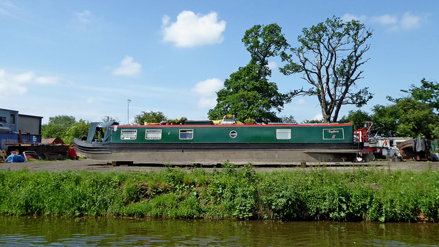 Narrowboat on dry land near Stretton, Staffordshire