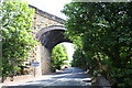 SE1426 : Viaduct for former railway over A58 at Bradford boundary by Roger Templeman