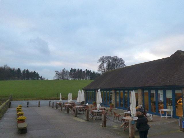 Tables outside the restaurant at Chatsworth Estate farm Shop