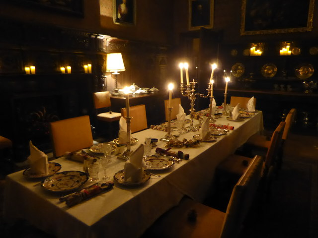 The dining table at Scotney Castle on Christmas Eve 1872