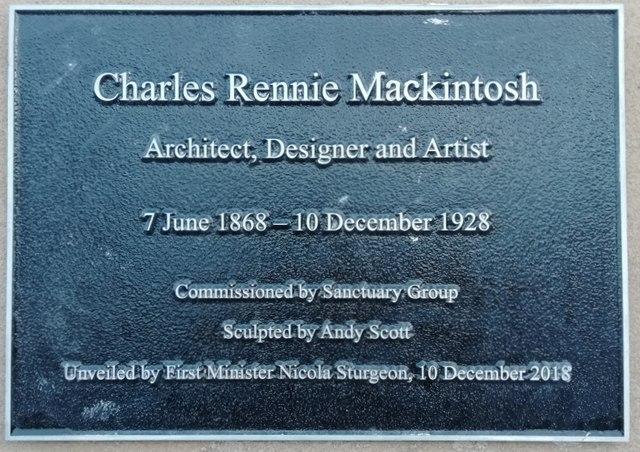 Charles Rennie Mackintosh statue, 2018 - plaque