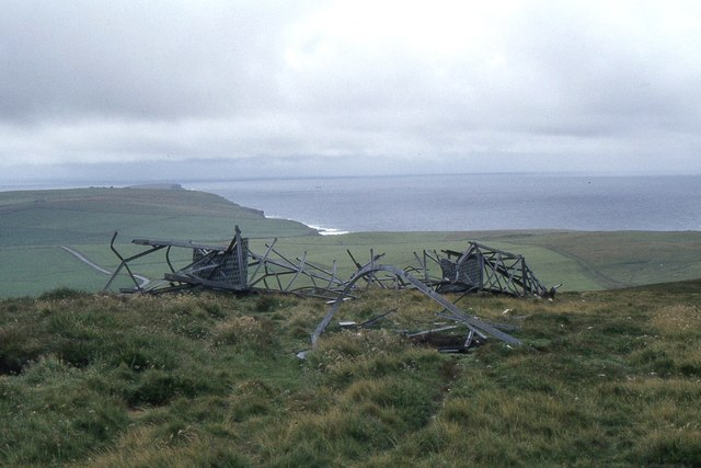 Wind turbine tower remains, Costa Hill Orkney 1984