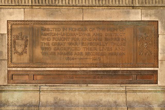 Dedication Plaque, Ashton-Under-Lyne War Memorial